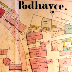 Podhajce Town Cadastral Map 1846, with Neighboring Villages
