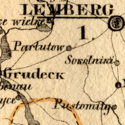 von Schlieben Map of Three Galician Kreise (Lemberg, Złoczów, Żółkiew) ca. 1828