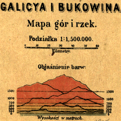 Mountains & Rivers Map of Galicia & Bukovina after 1885